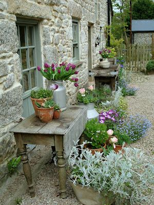 We've moved the old table here and are bringing our plants & pots near the potting shed. We have to get things organized for winter.....