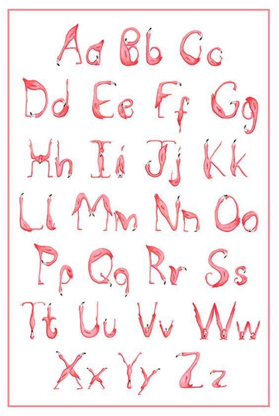 Pink Flamingos Alphabet Abc Print Flamingo Art