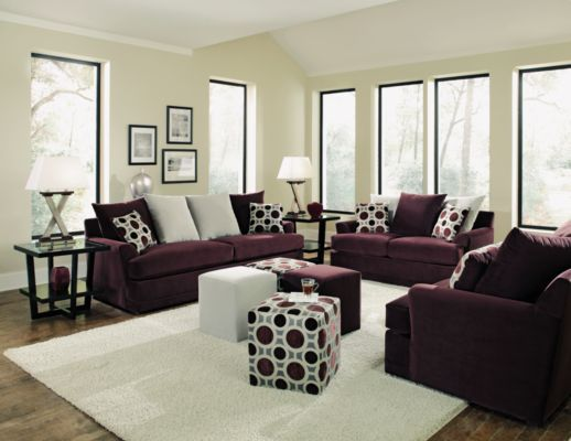 Image gallery plum sofa for Couch and loveseat arrangement ideas