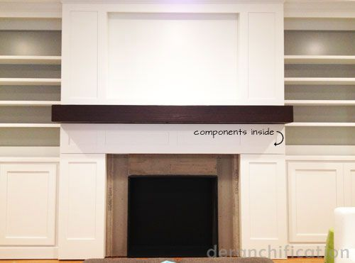 Fireplace With Hidden Component Storage For Hanging Tv