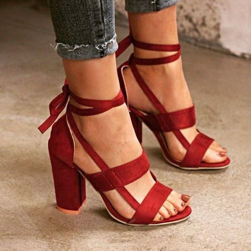 Women/'s Fashion High Block Heels Peep Toe Ankle Strappy Sandals Lace Up Shoes