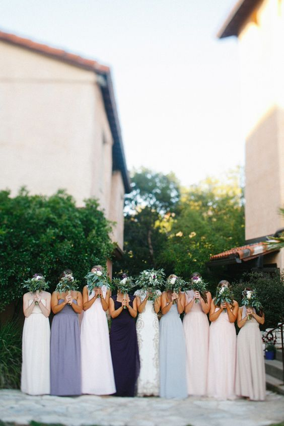 floor length #bridesmaiddresses- photo by http://www.awakeyoursoul.com - http://ruffledblog.com/one-world-theatre-wedding/