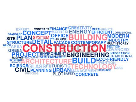 Building construction and civil engineering Word cloud concept Stock Vector