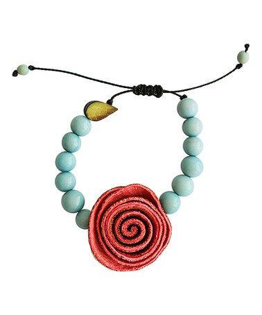 Look what I found on #zulily! Coral & Sky Blue Floral Adjustable Bracelet…