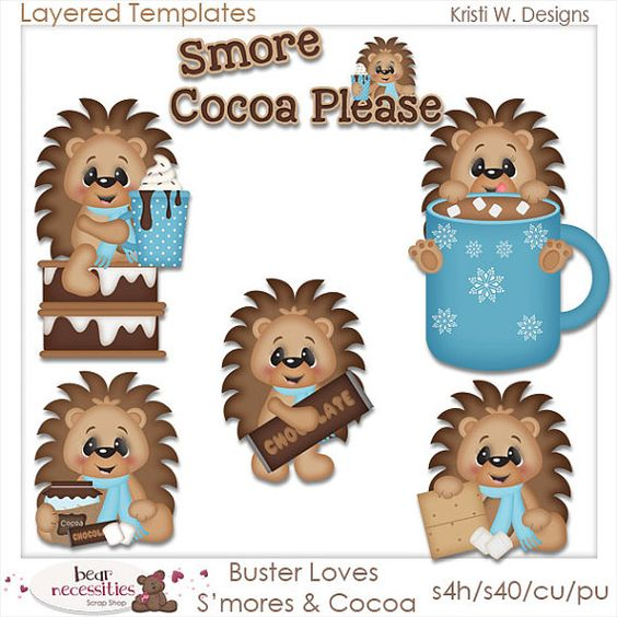 Buster the Hedgehog Loves Smores PSD Templates by marlodeedesigns, $5.00