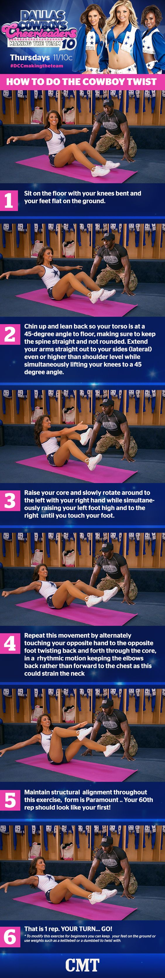 Dallas Cowboys Cheerleaders #MotivationMonday: Cowboy Twist. Great ab workout to strengthen the core! #DCCMakingTheTeam