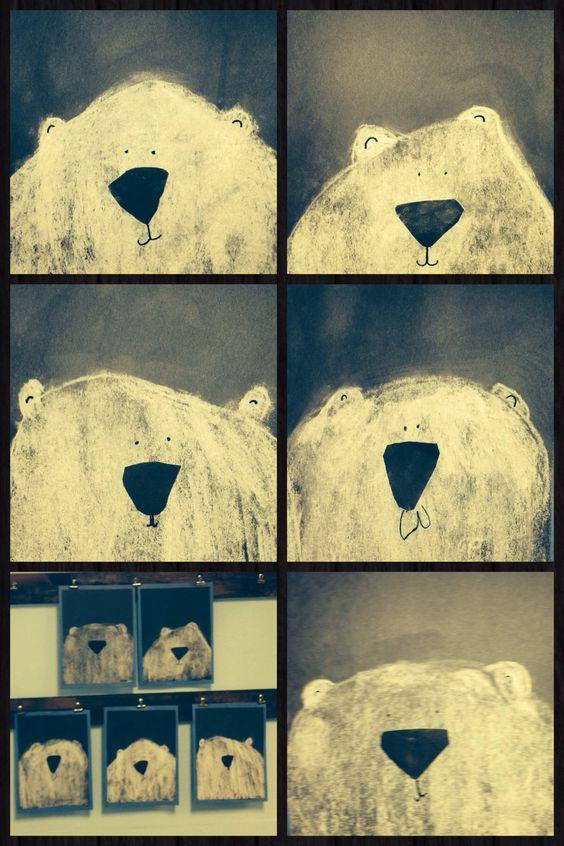 Wie wäre es mit diesen süßen Eisbären für den Klassenraum? Schöne und einfache Idee für die kalte Jahreszeit. | White chalk on black paper, noses cut from black paper, black marker eyes and mouths.