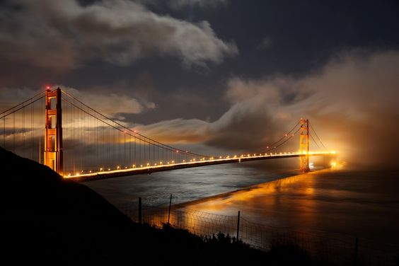 Golden Gate Bridge at night.  What a stunning picture.