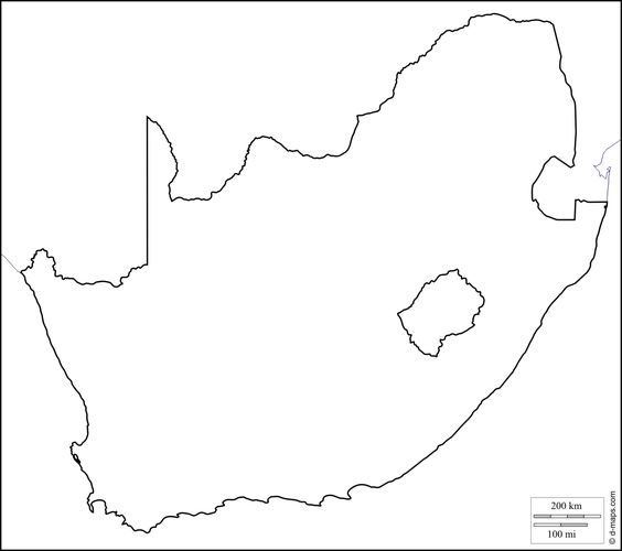 South Africa Free Map Free Blank Map Free Outline Map Free - Blank map of south africa