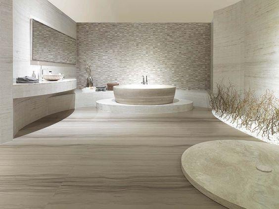 Idee Salle De Bain Noir : Carrelage de salle de bain  de sol  en travertin  poli TRAVERTINO
