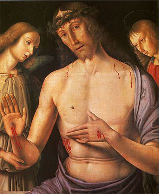 Christ supported by two angels, c.1490, by Giovanni Santi, Raphael's father.
