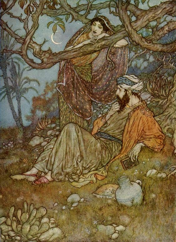 Here with a Loaf of Bread beneath the Bough,  A Flask of Wine, a Book of Verse—-and Thou  Beside me singing in the Wilderness—-  And Wilderness is Paradise enow.   ****Rubaiyat of Omar Khayyam, Trans. E. Fitzgerald, Illust. E. Dulac
