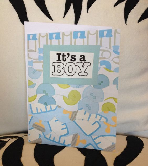 FOR SALE ON ETSY by: The Imagicreationary It's A Boy! baby greeting card.  Assembled from layered card stock cut with decorative scissors.  Perfect for or from the mom to be!