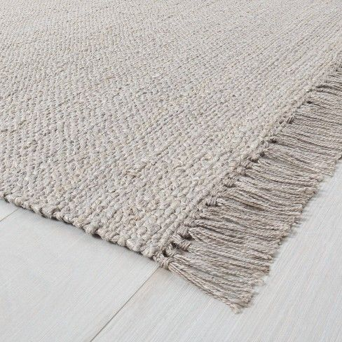 Bleached Jute Rug With Fringe Gray