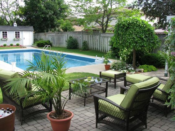 Pool landscaping pools and landscaping on pinterest for Garden designs for pool area