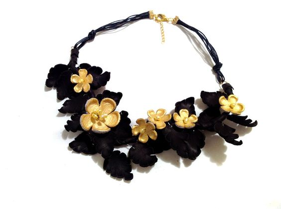 Floral leather necklace with pearls by ~julishland on deviantART