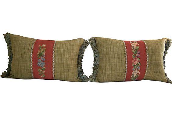 Floral Stitchwork Pillows, Pair    $149.00
