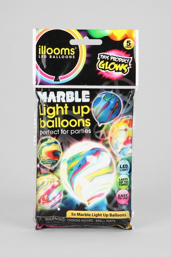 Marble Light-Up LED Balloons-Pack Of 5