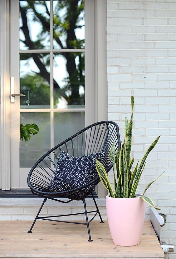 Acapulco chair, Modern Pink Planter: