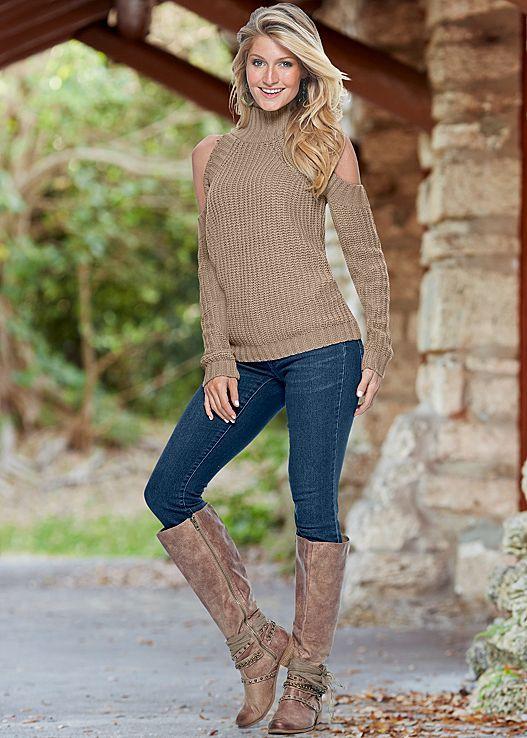 e9faeccaec Tan Off shoulder sweater with skinny denim from VENUS. Top in sizes ...