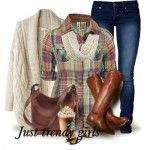 plaid shirt with knit cardigan