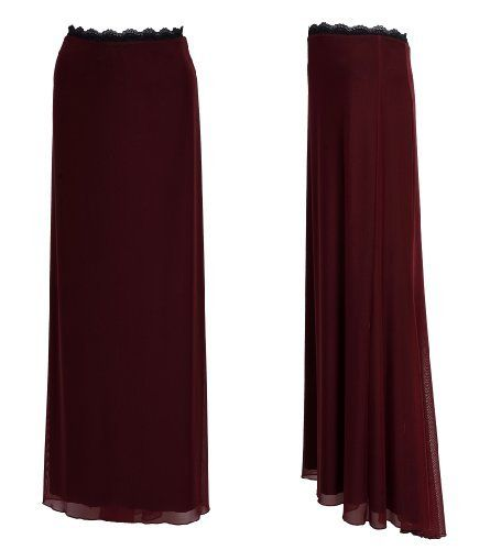 Special Occasions Bordeaux Maxi Skirt Created by Michal Negrin with Contrast Black Scalloped Edge Lace Trim on Waistline and Merrow Edge Finish on the Asymmetrical Hemline Michal Negrin. $295.00
