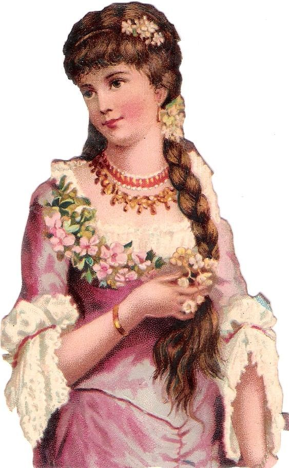 Oblaten Glanzbild scrap die cut chromo Dame lady girl beauty Zopf Mädchen: