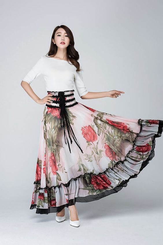 Maxi Ruffles Summer Skirt or Strapless Dress - Long Full flower Print with Elastic Waist  1568