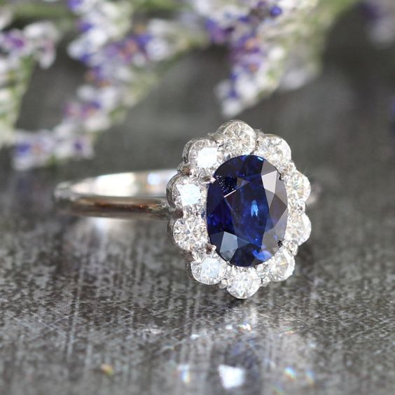 Diana Diamond and Sapphire Engagement Ring Halo Diamond Wedding Ring in 14k White Gold 8x6mm Oval Sapphire Ring (Wedding Set Available)