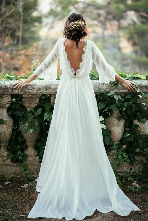 Ivory Chiffon Lace Long Elegant Beach Wedding Dresses Flowy Backless Wedding Dresses In 2020 Chiffon Wedding Dress Beach Backless Wedding Wedding Dresses