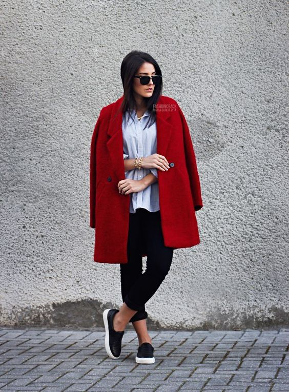 red coat, skater sneaks and button down via FashionCrack