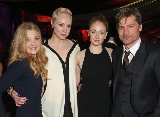Sophie Turner with Game of Thrones cast members Natalie Dormer, Gwendoline Christie and Nikolaj Coster-Waldau at the Game of Thrones season 5 premiere