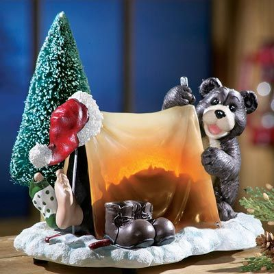 Camping Santa w/ Bear Northwoods Christmas Figurine