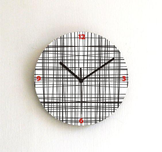 Wall clock simple geometric decor black grid by ArtisEverything, $39.00
