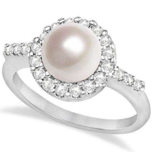 Cultured Freshwater Pearl & Diamond Halo Ring 14K White by Allurez, $1213.80