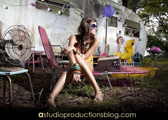 Trailer park styled out shoot, Commercial photography, Sunglasses