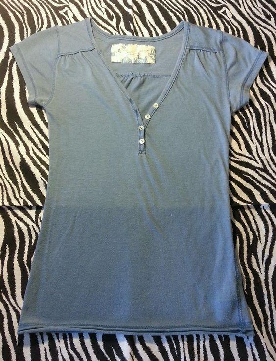 ~ Derek Heart  Girls Blue V Neck Top Tee Shirt ~ Size 10 12 ~EUC #DerekHeart