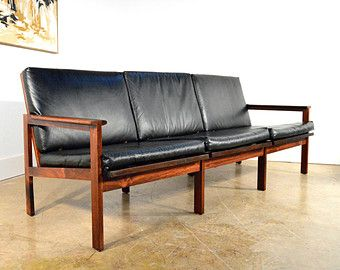 rosewood sofa illum wikkels capella for niels eilersen free shipping danish modern mid century black leather black leather mid century