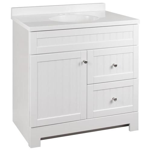 Style Selections Ellenbee 36 In White Single Sink Bathroom Vanity With White Cultured Marble Top Lowes Com White Vanity Bathroom Single Sink Bathroom Vanity Bathroom Sink Vanity