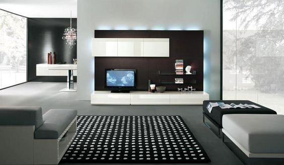 Stylish and Modern TV Wall Units by Alf Da Fre : Black and white with blue ambient lighting TV wall mount by Alf Da Fre