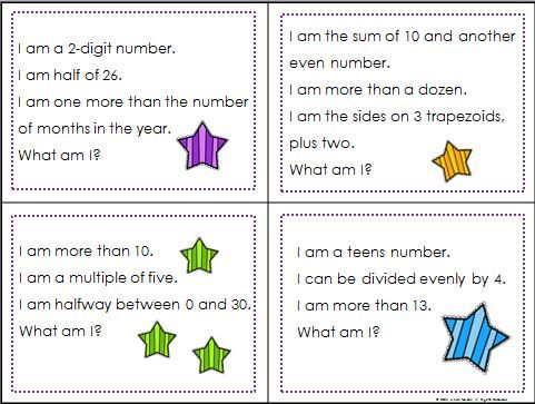 100 riddle cards for the numbers from 1 to 100 - two digit addition ...