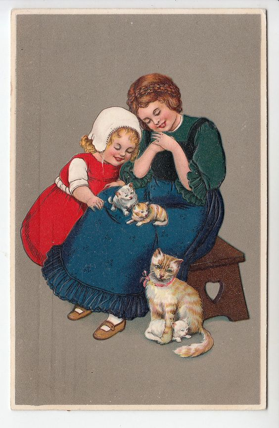 Mother & Child in Bonnet with Cat & Kittens - Pretty Embossed PC