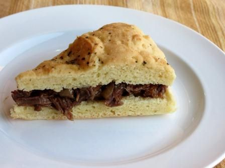 Beef Barbecue Sandwich on focaccia bread this is good     bread