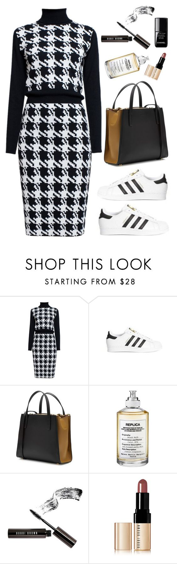 """""""Rumour London - LINA Houndstooth Merino Wool Dress"""" by thestyleartisan ❤ liked on Polyvore featuring Rumour London, Marni, Maison Margiela, Bobbi Brown Cosmetics, Chanel, women's clothing, women, female, woman and misses"""