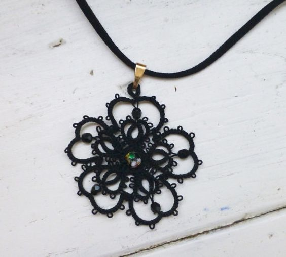 Tatted lace necklace black pendant women's accessories women's jewelry handmade necklace steampunk victorian era lace jewelry by SixthandDurianGifts