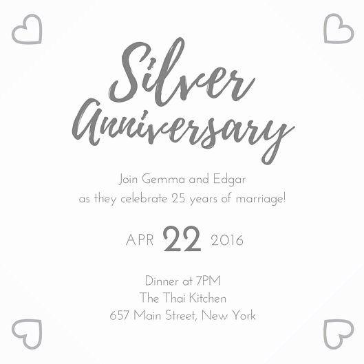 Wedding Anniversary Invitation Templates Awesome Silver 25th Weddi Wedding Anniversary Invitations Anniversary Invitations 50th Wedding Anniversary Invitations