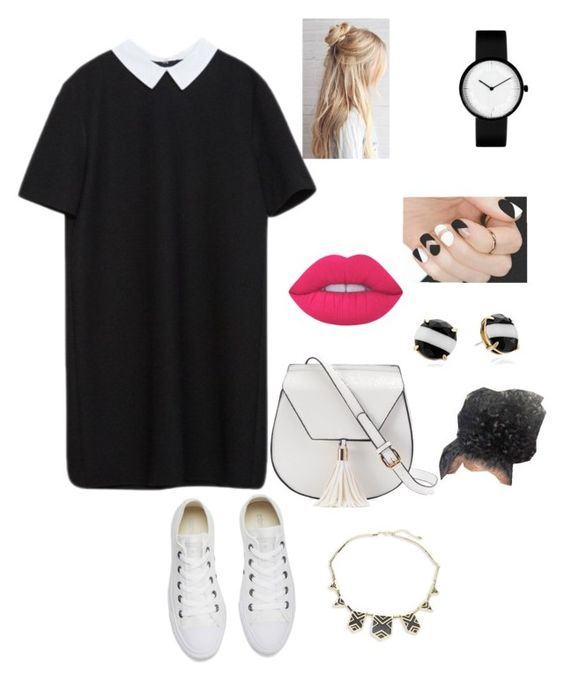 """Untitled #8"" by niania-i on Polyvore featuring Converse, Yoki, Lime Crime, Kate Spade and House of Harlow 1960"