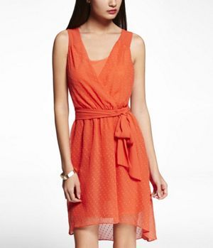 CLIP DOT TWIST BACK HI-LO HEM DRESS at Express