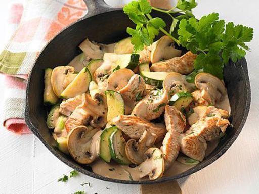 Putenpfanne mit Zucchini und Champignons - Rezept