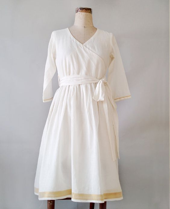 White Cotton Wrap Dress made from a Traditional South Indian ...